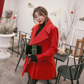 Dabagirl Double Breasted Big Collar Coat